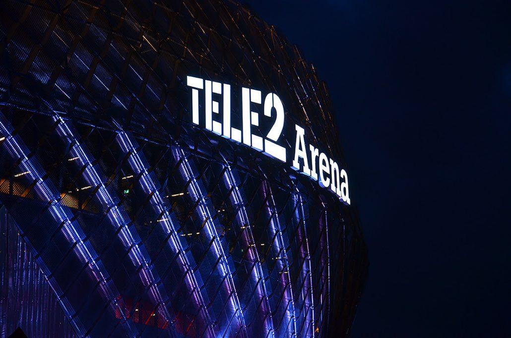Tele2 Arena fasadskyltar av FocusNeo