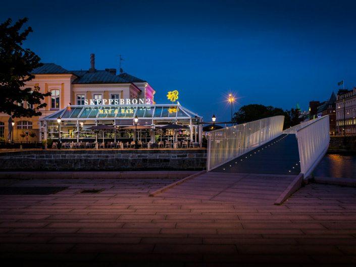 Skeppsbron takskylt på baren av FocusNeo i Stockholm