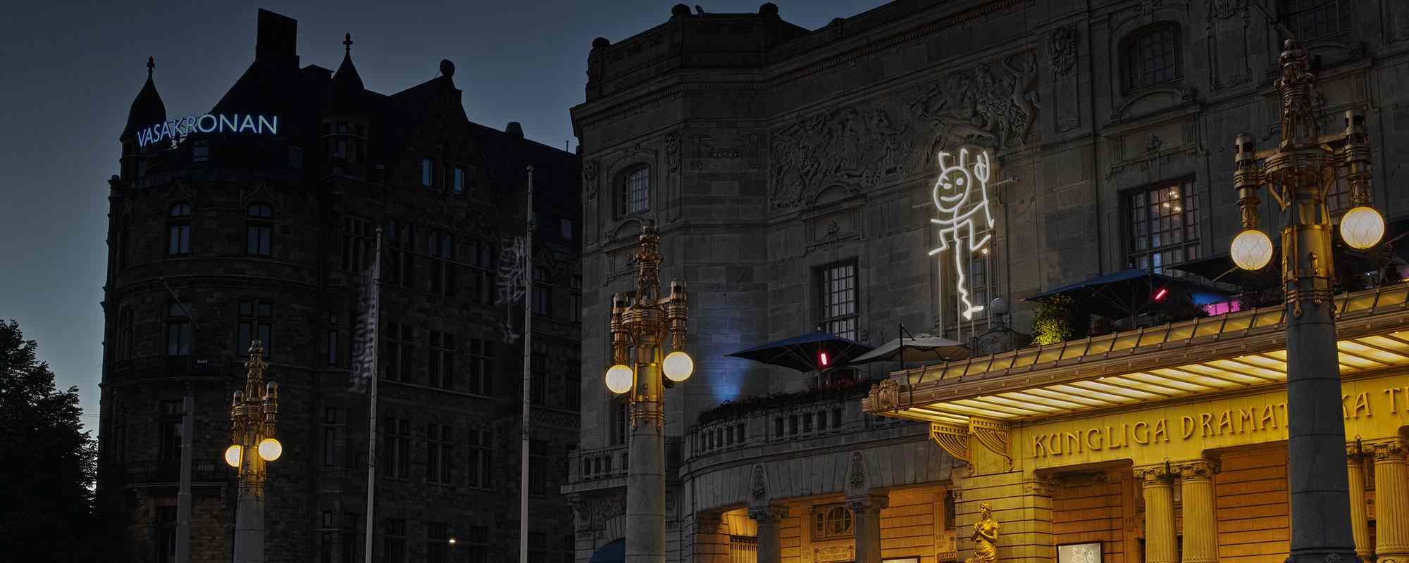 Vasakronan neon skyltar på byggnad med FocusNeo