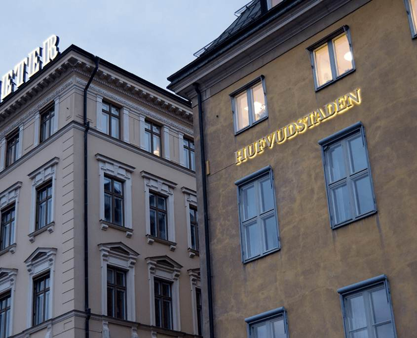Hufvudstaden fasadskyltar i Stockholm | FocusNeo